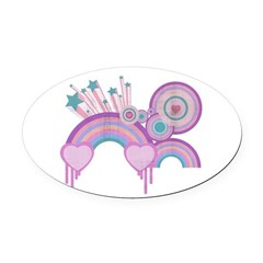 Urban Rainbow Stars and Spirals.png Oval Car Magne