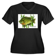 Bluegill Women's Plus Size V-Neck Dark T-Shirt