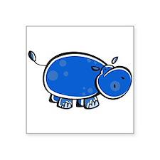 "bright blue hippo.png Square Sticker 3"" x 3"""