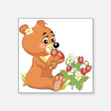 teddy bear eating strawberries.png Square Sticker