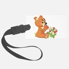 teddy bear eating strawberries.png Luggage Tag