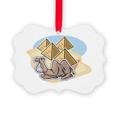 resting camel and pyramids design.png Ornament