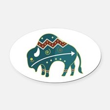 native buffalo.png Oval Car Magnet