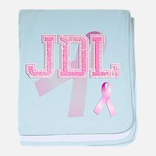 JDL initials, Pink Ribbon, baby blanket