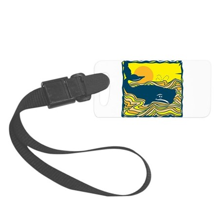 swimming whale design.png Small Luggage Tag