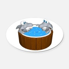 sharks in a hot tub.png Oval Car Magnet