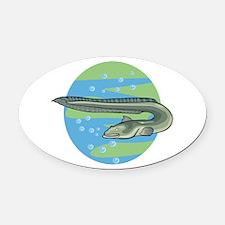 3-eel circle design.png Oval Car Magnet