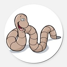 cute little earthworm.png Round Car Magnet