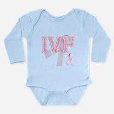 IVF initials, Pink Ribbon, Long Sleeve Infant Body