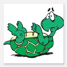 """scared little turtle.png Square Car Magnet 3"""" x 3"""""""