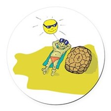 suntanning turtle.png Round Car Magnet