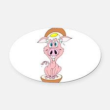 egg and pork roll piggy sandwich.png Oval Car Magn