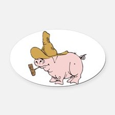 hillybilly country pig.png Oval Car Magnet