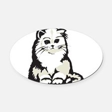 cute white persian kitten.png Oval Car Magnet