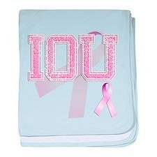 IOU initials, Pink Ribbon, baby blanket