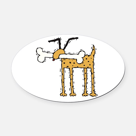 funny dog with bone.psd Oval Car Magnet