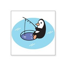 "cute ice fishing penguin.png Square Sticker 3"" x 3"
