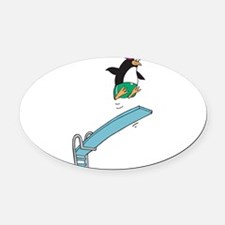 funny diving penguin.png Oval Car Magnet