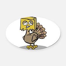 hiding paper bag face turkey.png Oval Car Magnet