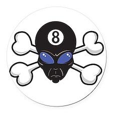 eight ball alien crossbones.png Round Car Magnet