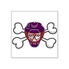 """hockey skull crossbones.png Square Sticker 3"""" x 3"""""""