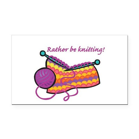 rather be knitting.png Rectangle Car Magnet