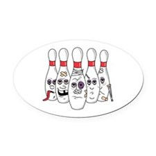 beat up bowling pins copy.png Oval Car Magnet