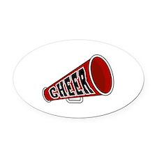 red cheerleader blullhorn copy.jpg Oval Car Magnet