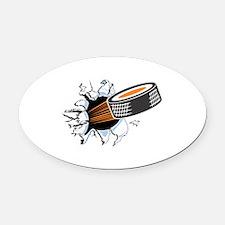 1hocky puck rip thru copy.jpg Oval Car Magnet