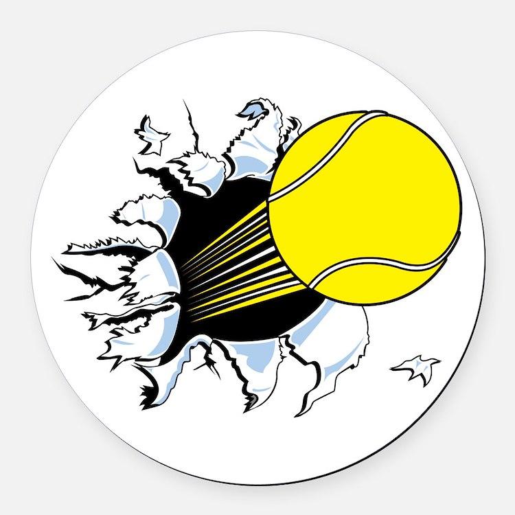 tennis ball rip thru copy.jpg Round Car Magnet
