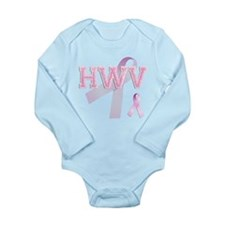 HWV initials, Pink Ribbon, Long Sleeve Infant Body
