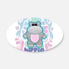 hippo drawing.png Oval Car Magnet