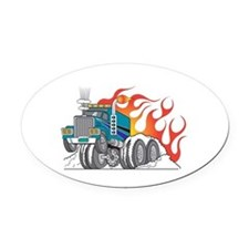 semi_hotrod.png Oval Car Magnet