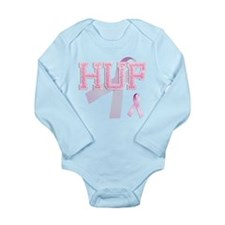 HUF initials, Pink Ribbon, Long Sleeve Infant Body