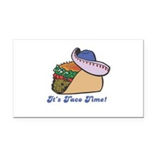 taco with hat copy.jpg Rectangle Car Magnet