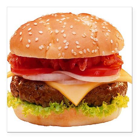 "yummy cheeseburger photo Square Car Magnet 3"" x 3"""