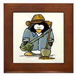 Treasure Hunter Penguin Framed Tile