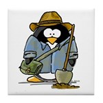Treasure Hunter Penguin Tile Coaster