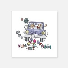 cartoon just married car copy.jpg Square Sticker 3