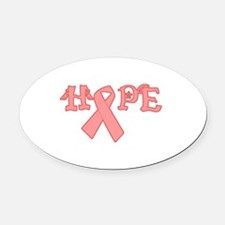 breast cancer hope black.png Oval Car Magnet