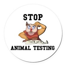 owl animal testing copy.jpg Round Car Magnet