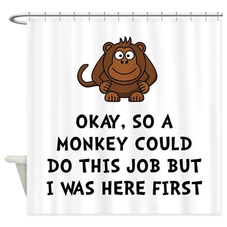 Monkey Job Shower Curtain By TheTeeRoom