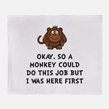 Monkey Job Throw Blanket