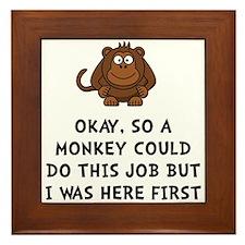 Monkey Job Framed Tile