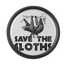 Save The Sloths Large Wall Clock