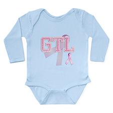 GTL initials, Pink Ribbon, Long Sleeve Infant Body