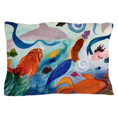 Tropical Fish and Mermaid Party Pillow Case