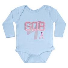 GOB initials, Pink Ribbon, Long Sleeve Infant Body