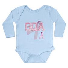 GOA initials, Pink Ribbon, Long Sleeve Infant Body