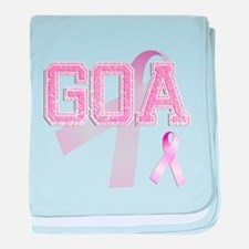 GOA initials, Pink Ribbon, baby blanket